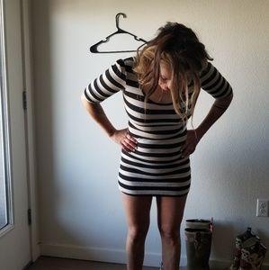 Forever 21 b&w stripes short dress/long shirt S/M